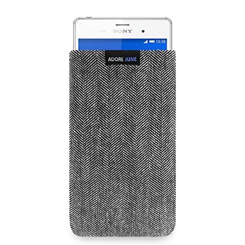 Adore June Business Tasche passend für Sony Xperia Z3 Handytasche aus charakteristischem Fischgrat Stoff - Grau/Schwarz | Schutztasche Zubehör mit Bildschirm Reinigungs-Effekt | Made in Europe