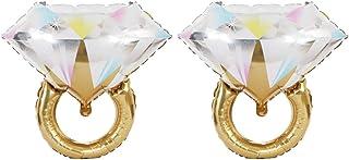 2pcs Aluminum Foil Balloon Wedding Diamond Ring Balloon Party Supplies Wedding Valentine's Day Gifts (Golden)