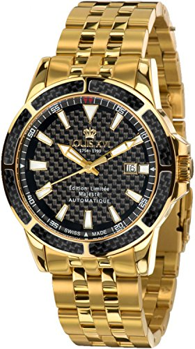 LOUIS XVI Herren-Armbanduhr Majesté Stahlband Gold Schwarz Karbon Automatik Analog Edelstahl 628