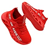 Zapatos para Niño Zapatillas Deporte Niño Transpirables Caminar Bambas para 4-12 Niño (Etiqueta 34, Rojo)