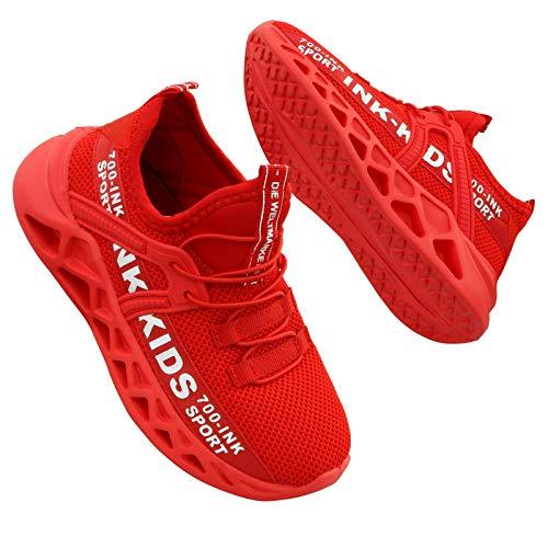 Hoylson Kinder Turnschuhe Jungen Sportschuhe Draußen Sneakers Jungen Hallenschuhe mit Klett(rot,EU 33/ Etikette 34