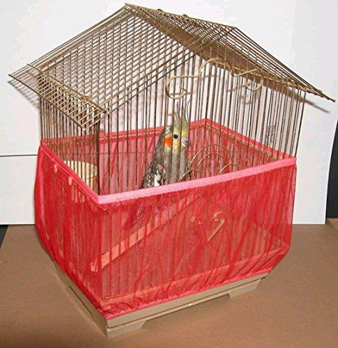 Sheer Guard Cage à Oiseaux Jupe – Super Grande Taille, Super Large, Rouge