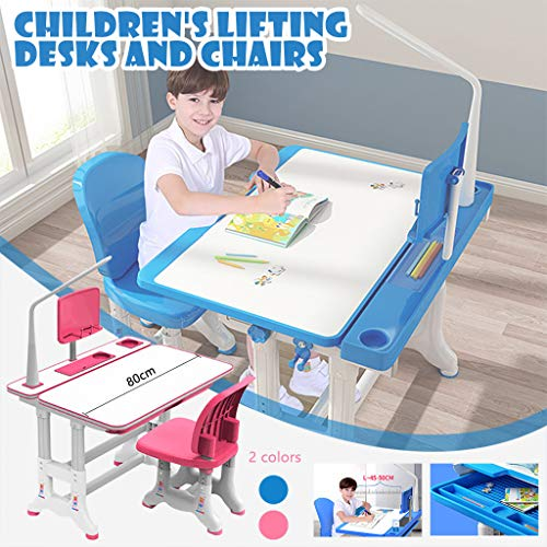 Kids Desk and Chair Set, Height Adjustable Kids Table and Chair Set, Home School Use Anti-Reflective Children Study Table with LED Light/Reading Board/Pull-Out Drawer (80X60cm, Not tiltable Pink)