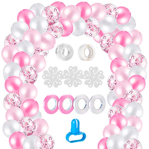 MELLIEX 120 Piezas Globos de Confeti Globos de Latex Kit de Guirnaldas de Globos con 10 Accesorios para Globos para Decoracion de Boda Cumpleaños Fiesta San Valentin, Rosa y Blanca