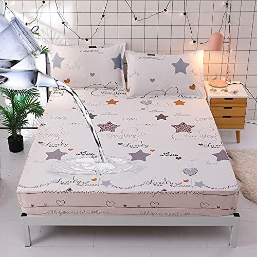 HPPSLT Matratzen-Bett-Schoner mit Spannumrandung | Auch für Boxspring-Betten und Wasser-Betten geeigne Wasserdichtes Bettlaken mit Baumwolldruck - 14_150 cm × 200 cm