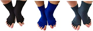 Triim Fitness Toe Separator Yoga Gym Sports Massage Socks for Foot Alignment, Great for Sore Feet and Diabetics with Free Exercise Guide!