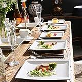 MALACASA, Serie Blance, 60 TLG. CremeWeiß Porzellan Geschirrset Kombiservice Tafelservice mit je 12 Kaffeetassen, 12 Untertassen, 12 Dessertteller, 12 Suppenteller und 12 Flachteller - 8