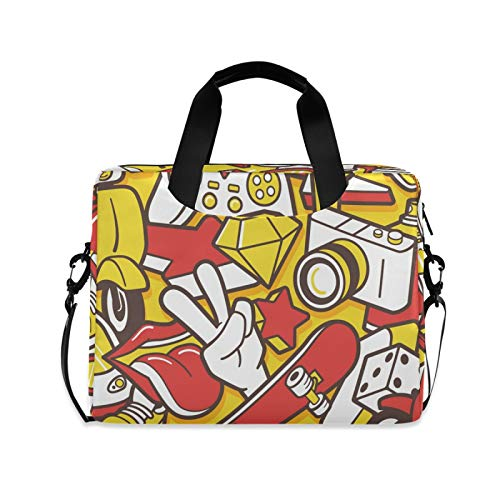 Abstract Street Graffiti Laptop Case Bag Sleeve Portable Crossbody Messenger Briefcase Attache Casew/Strap Handle, 13 14 15.6 inch