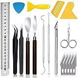 Queta Juego de 18PCS herramientas de manualidades para deshierba herramientas de vinilo para deshierba de acero inoxidable, accesorios para HTV, ganchos desrejados, pinzas, espátula, silueta