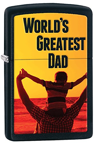 Zippo World's Great Dad Outdoor Indoor Windproof Lighter Custom Personalized Engraved Message on Backside