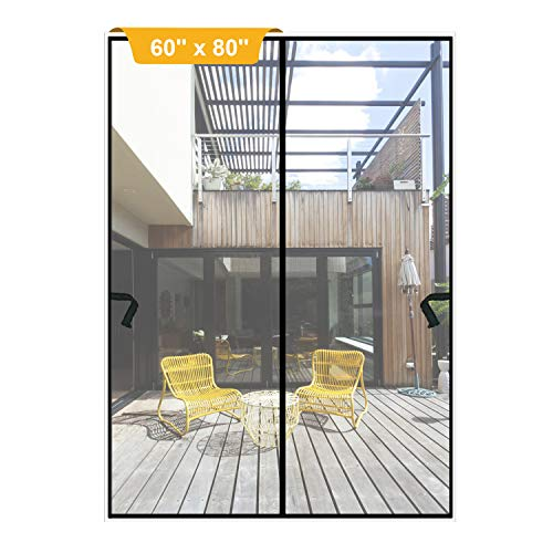 Magnetic Screen Door 60 x 80 inch, DIXLAMN Magnet Screen Door Mosquito Door Net with Heavy Duty Fits Door Size up to 58