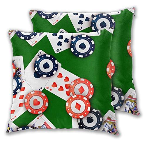 ZELXXXDA 3D-Druck-Kissenbezug-Hülle,Helle Casino-Chips und Pokerkarten auf grünem, Moderner Kissenbezug für Sofa Couch Bett Auto Set Wohnkultur 18