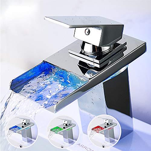 Ideko® - Grifo de lavabo cascada con LED de latón mezclador para lavabo cascada LED y flexible x 2 (cromado)
