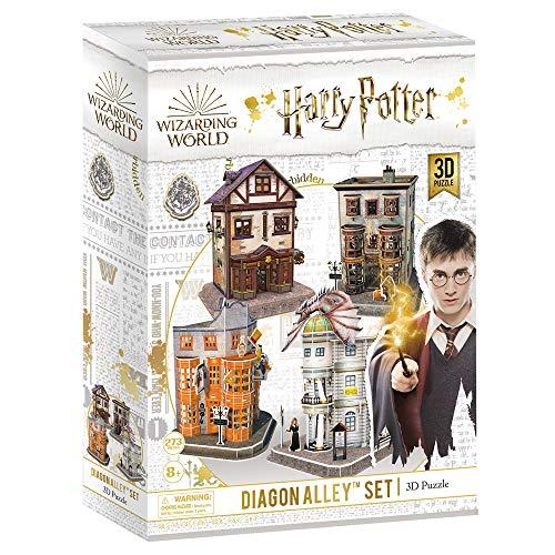CubicFun Puzzle 3D Harry Potter, collezione 4 in 1 – Qualità Quidditch Supplies, Ollivanders Wand Shop, Weasleys' Wizard Wheezes e Gringotts Bank, 274 pezzi
