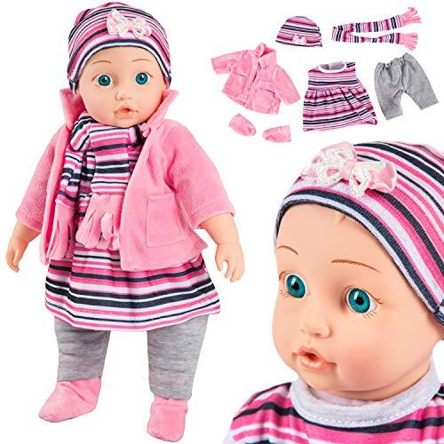 """Kinderplay Muñecas Bebe Reborn Silicona Doll 14""""- Muñeca de cuerpo suave dice mamá, papá, risas, gritos, modelo KP4839, 35 cm de alto, Bebes llorones"""