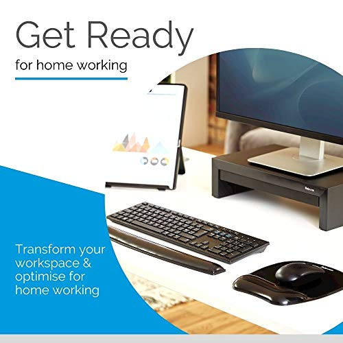 Fellowes Crystals Gel Mouse Mat with Wrist Support, Black