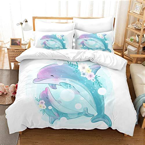 MUSOLEI Dolphin Kids' Duvet Cover Set Blue Bedding, Cartoon Duvet Cover for Girls Boys Teens Single Bed Queen Size (No Comforter Inside)