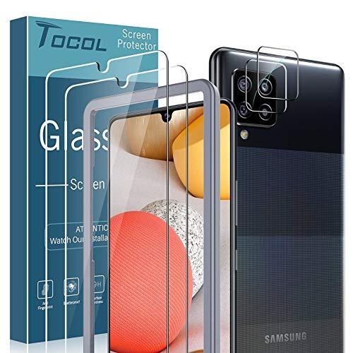 TOCOL 2 Piezas Protector de Pantalla y 2 Piezas Protector de Lente de cámara Compatible para Samsung Galaxy A42 5G Cristal Templado Marco de posicionamiento Vidrio Templado Protector Pantalla