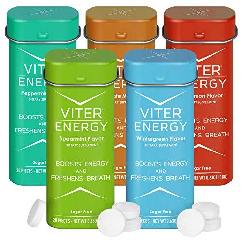Viter Energy Caffeinated Mints - 5 Flavor Variety Pack. 40mg Caffeine, B Vitamins, Sugar Free Vegan Breath Mint. Powerful Energizing Boost. 2 Energy Mints Replace 1 Coffee, Gum, Chews, Gummies, Candy