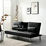 Cherry Tree Furniture Black ACRUX 3-Seater Sofa Bed Sleeper Sofa with Cup Holders & Cushions