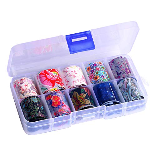 Nail Foil Transfer Sticker , 10 Rolls Laser Aurora Color Starry Sky Paper for Nail DIY , Adhesive Sticker Manicure Gel Tips Decorations for Nail Salon , Nice Gift , St Partick's Day Easter Deal (I)