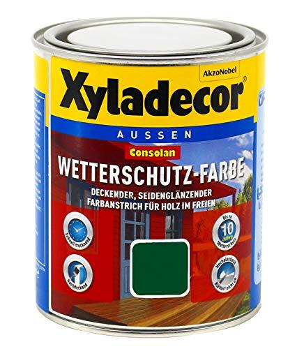 Xyladecor Consolan Wetterschutz Farbe deckend Holzschutzfarbe Holzfarbe bis zu 10 Jahre wetterbeständig für Holz und Zink Außen (0,75 Liter, 220 moosgrün)