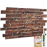 Paneles decorativos de pared de piedra salvaje marrón pizarra con textura 3D – 10 hojas | 4.8 m² | 51.6 m² paneles de revestimiento de pizarras de plástico PVC