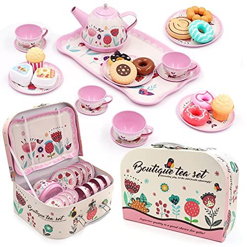27PCS Tea Set for Little Girls, Princess Tea Time Toys Playset- Teapot Dishes Dessert & Carrying Case, Kitchen Pretend Play Tin Tea Party Set Gifts for Kids Toddlers (Flower Desgin)