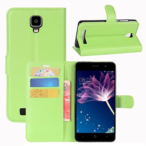 HualuBro Doogee X10 Hülle, [All Aro& Schutz] Premium PU Leder Leather Wallet HandyHülle Tasche Schutzhülle Flip Hülle Cover für Doogee X10 Smartphone (Grün)