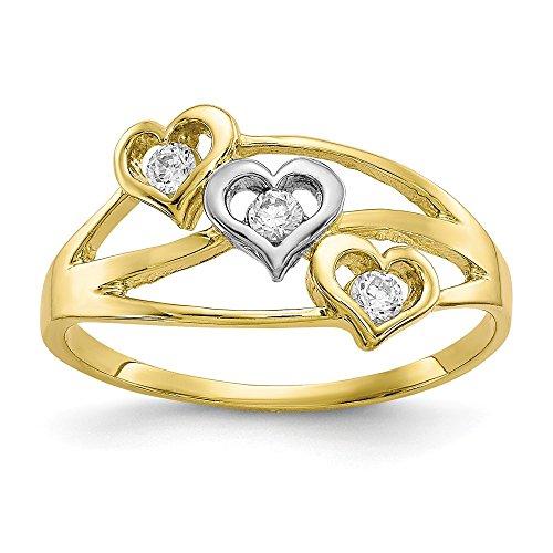 Sonia Jewels Anillo de Oro Amarillo y Blanco sólido de 10 Quilates con Tres Corazones y...