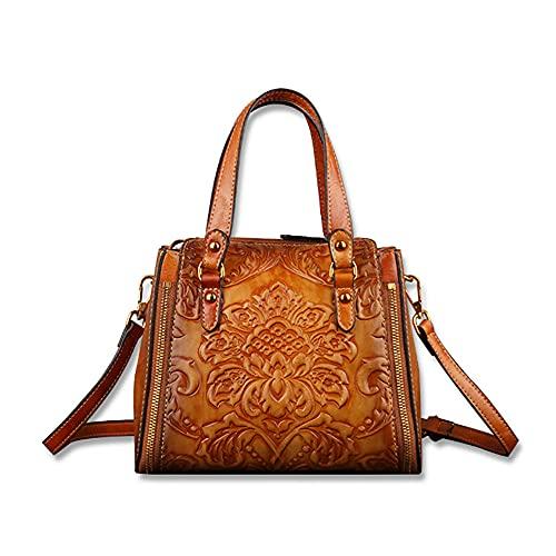 HENGZHISHENG Bolso bandolera de piel para mujer, gran capacidad, color marrón