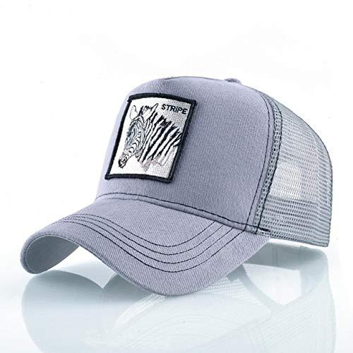 Gorras de béisbol de Moda Hombres Mujeres Snapback Hip Hop Sombrero Verano Malla Transpirable Sun Gorras Unisex Streetwear-Gray Zebra