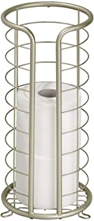 mDesign Decorative Metal Free Standing Toilet Paper Holder Stand with Storage for 3 Rolls of Toilet Tissue - for Bathroom/Powder Room - Holds Mega Rolls - Satin