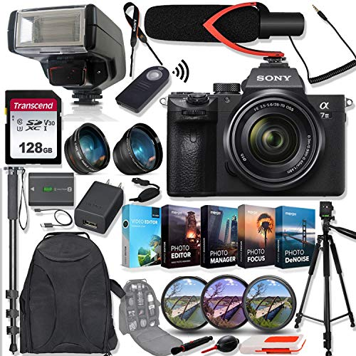 Sony Alpha a7 III Mirrorless Digital Camera & FE 28-70 mm F3.5-5.6 OSS Lens ILCE-7M3K/B Bundle with Tele and Wide-Angle Lens Set, 128GB Memory Card, Microphone, TTL Flash, Camera Bag & Accessories