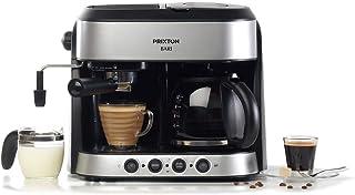PRIXTON Bari - Cafetera Doble/Cafeteras Express 3 en 1: Espresso, Americano y Cappuccino, 15 bares de Presión, Potencia 18...