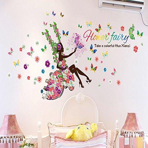 NIHAI Wall Sticker Decorations- Pansy Fairy Swinging Wall Sticker DIY Bedroom Living Room Background Wall Sticker Decal Decor for Kids Bedroom or Birthday Gift