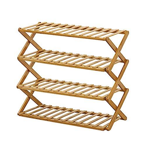 3/4Ser - Zapatero de madera de bambú, organizador de almacenamiento plegable, zapatero, estantería, pasillo, dormitorio, baño, salón, organizador