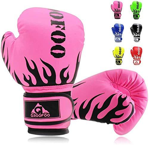 GROOFOO Kinder Boxhandschuhe für Kinder Boxsack Sparring Training, 4oz fit 3 bis 9 Jahre - Rosa