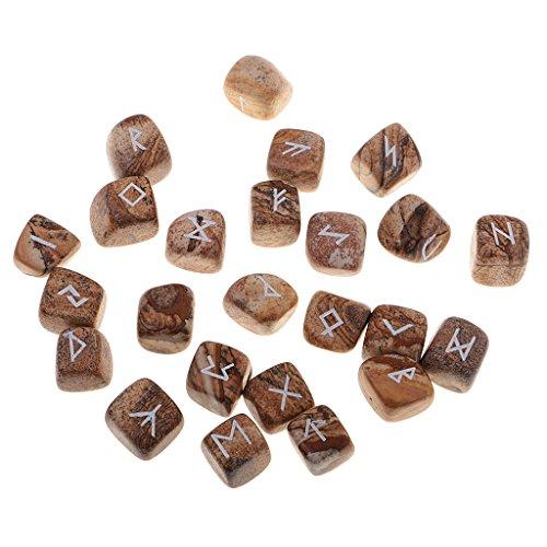 MagiDeal Set de 25 Unidades Piedras de Runas Mano Tallada de Cristal P