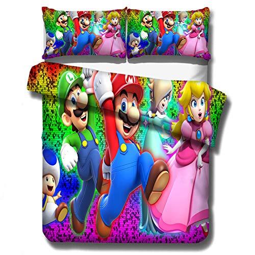Goplnma Super Mario Bros - Juego de ropa de cama con impresión digital 3D, funda nórdica de microfibra con cremallera, multicolor, para adultos y niños (135 x 200 cm, 3)