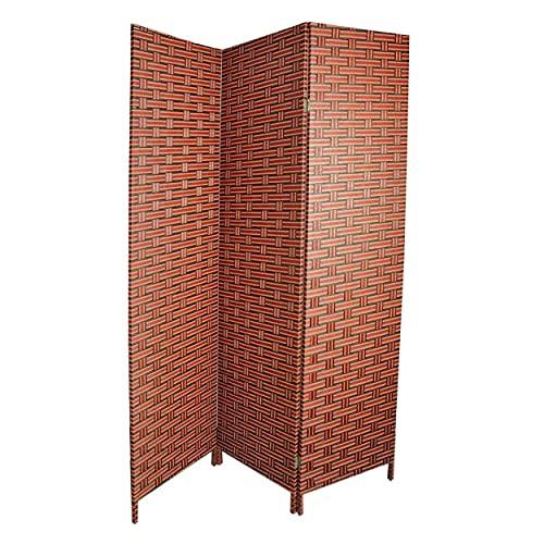 Biombo Separador para Salón Dormitorio, Bambú Natural y Papel Trenzado Tonos Wengue y Naranjas.180 x 135 cm - Hogar y más