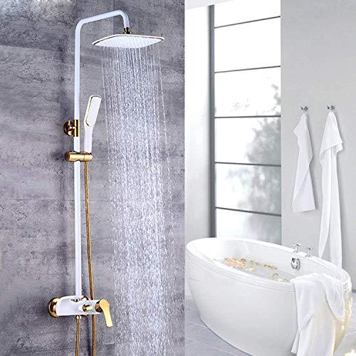 QJUZO Columna de Ducha baño Blanca 3 Funciones Chorros Agua con Bandeja Baño Gancho Altura Ajustable Aireador ABS Desmontable Juegos Grifería para Bañera y Ducha