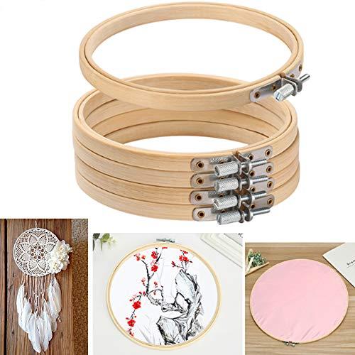Nuluxi Kreuzstich Rahmen Bambus Hoops Kreuzstich Stickerei Bambus Stickrahmen Kreuzstich Hoop Stickerei Rahmen Kleine und Schöne Perfekt Geschenk für in der Familie oder ein Anfänger-20cm (5 Stück)