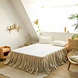 BISELINA French Linen Bed Skirt with Pleated Frills 22-Inch Tailored Drop Natural Flax Cotton Blend Dust Ruffle Soft Cozy Farmhouse Bedding (22' Queen, Linen)