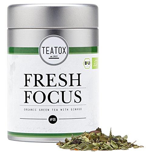 Teatox Bio-Grüntee FRESH FOCUS für einen klaren Geist | loser grüner Tee mit Ginseng, Ginkgo, Guarana & frischem Eukalyptus | 100% biologisch & vegan, ohne Aromen & Zusätze | 70g in der Dose