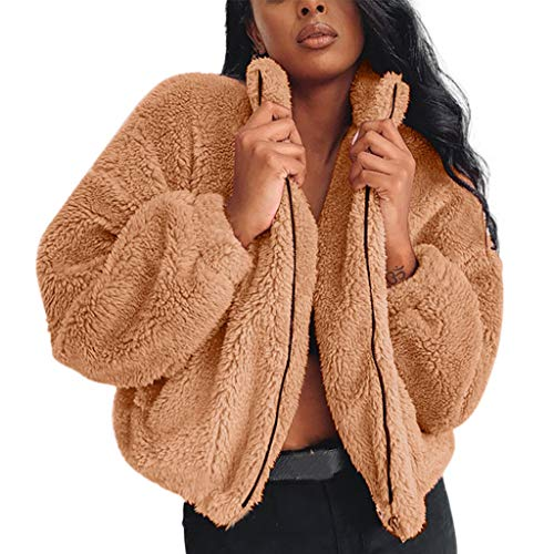 AMUSTER Damen Winterjacke Wollmantel Warme Künstliche Wolljacke mit Reverskragen Frauen Kurz Wintermantel Wintermode Fleecejacke Teddyjacke Fleecemantel Outwear