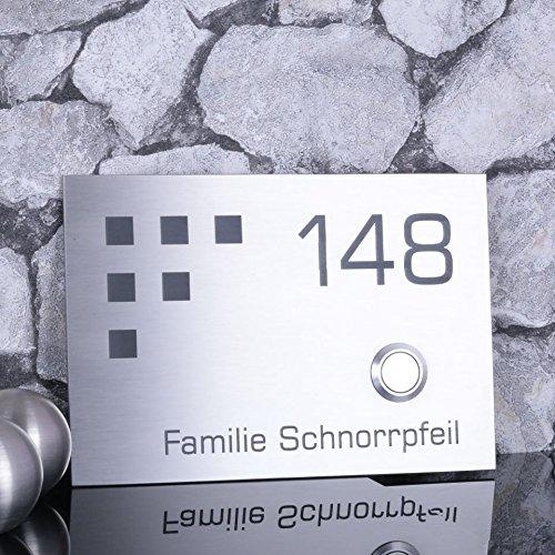 Türklingel aus Edelstahl mit Design-Element, 160 x 110 mm, personalisierbare Haustürklingel mit optionaler LED-Ringbeleuchtung für den Klingelknopf, UV-resistente & wetterfeste Klingel