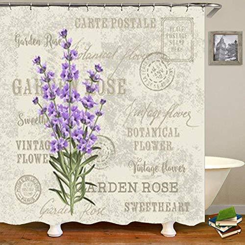 None brand Elegante Lavendel Rose Blume Duschvorhang Vintage Postkarte Girlande Bad Bad Vorhang BlüHende FrüHlingsblumen Home Decor-B180xh200cm