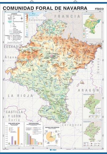 Mapa mural Comunidad Foral de Navarra impreso a doble cara Físico / Político envarillado, con colgadores y tubo 100 x 140 cm