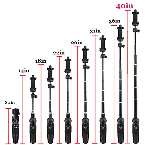 Portable 40 Inch Aluminum Alloy Selfie Stick Phone Tripod with Wireless Remote Shutter Compatible with iPhone 13 12 11 pro Xs Max Xr X 8 7 6 Plus, Android Samsung Smartphone